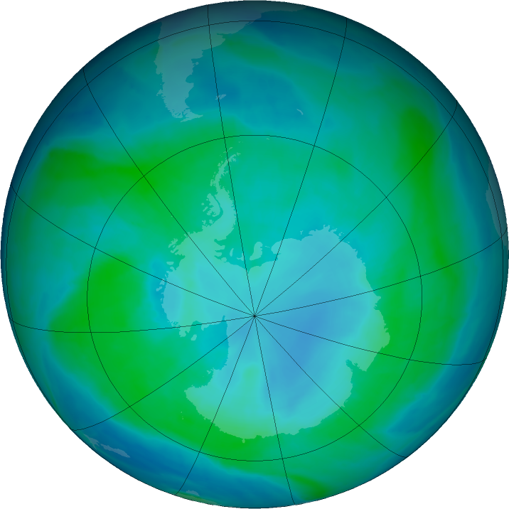 Antarctic ozone map for 31 January 2016