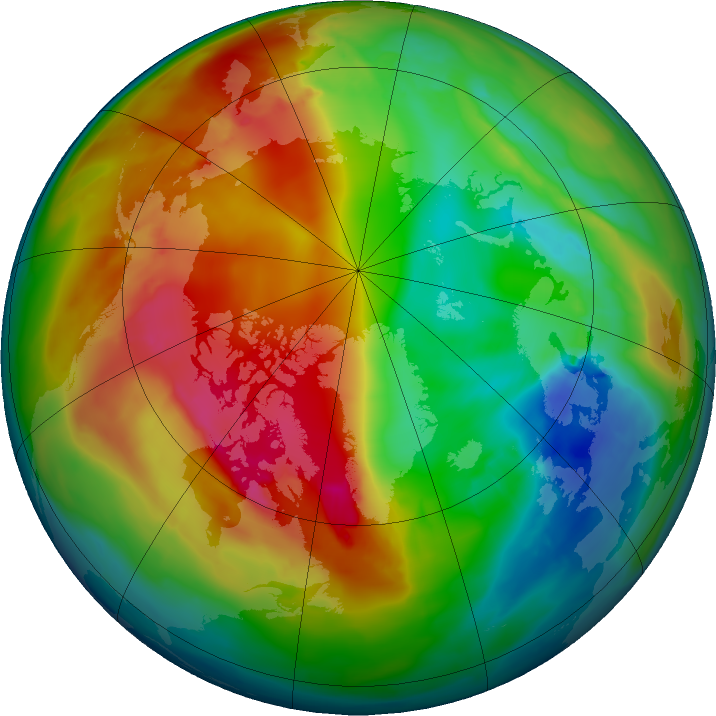 Arctic ozone map for 01 February 2016