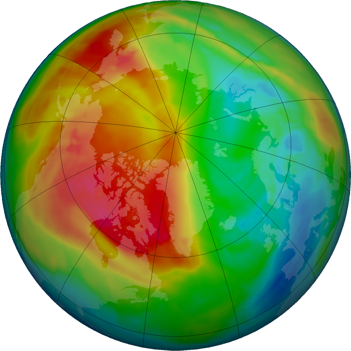 Arctic ozone map for 02 February 2016
