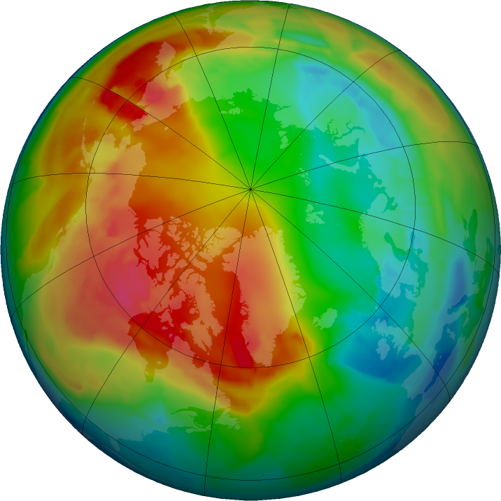 Arctic ozone map for 03 February 2016