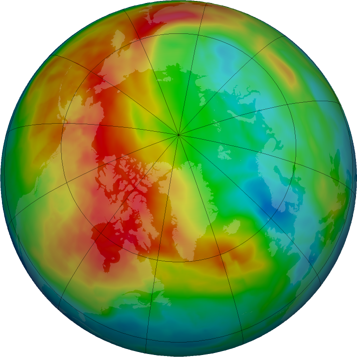 Arctic ozone map for 05 February 2016