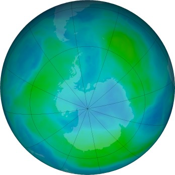 Antarctic ozone map for 2016-02-07