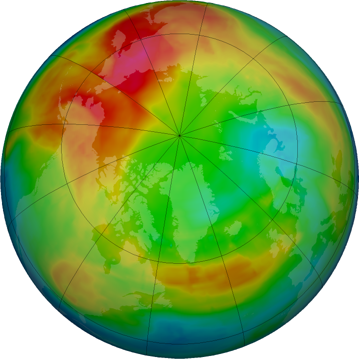 Arctic ozone map for 08 February 2016