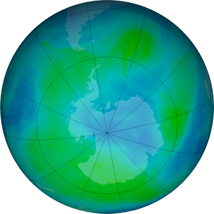 Antarctic ozone map for 11 February 2016