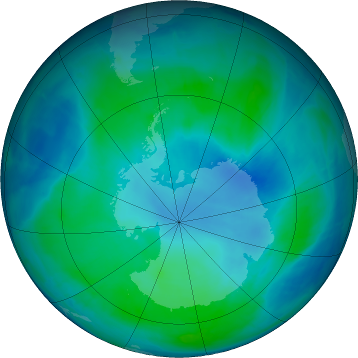 Antarctic ozone map for 12 February 2016