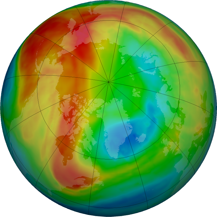 Arctic ozone map for 13 February 2016