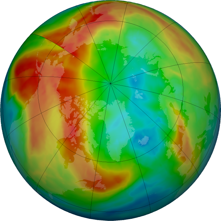 Arctic ozone map for 15 February 2016