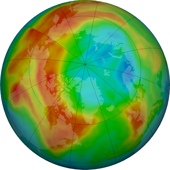 Arctic ozone map for 18 February 2016