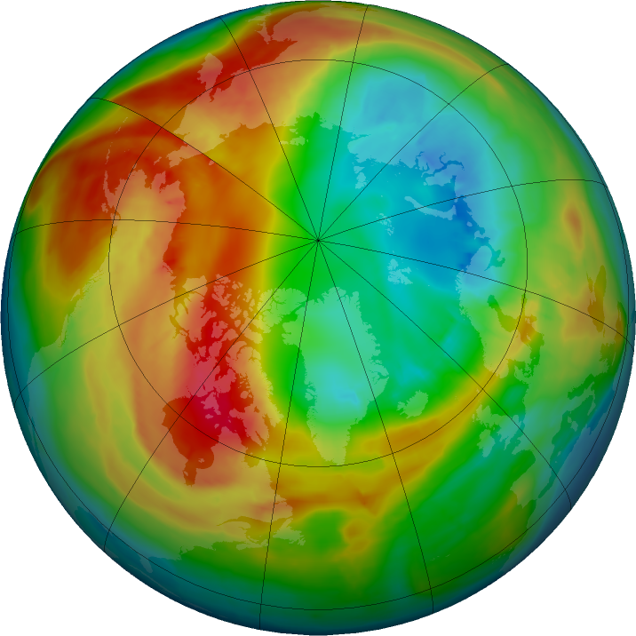 Arctic ozone map for 21 February 2016
