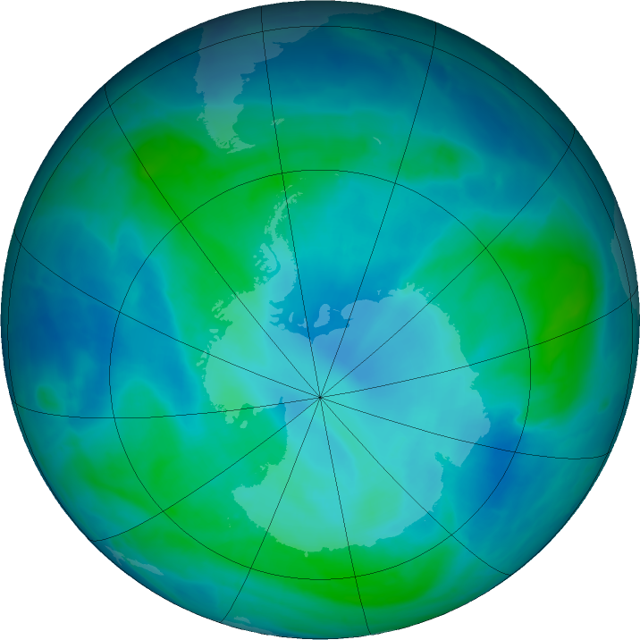 Antarctic ozone map for 21 February 2016