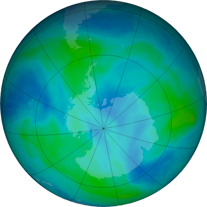 Antarctic ozone map for 22 February 2016