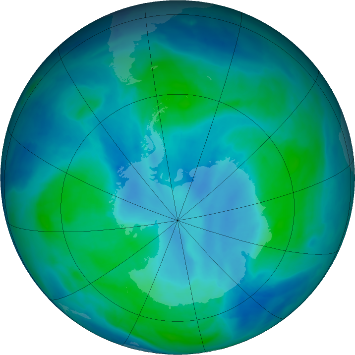 Antarctic ozone map for 24 February 2016