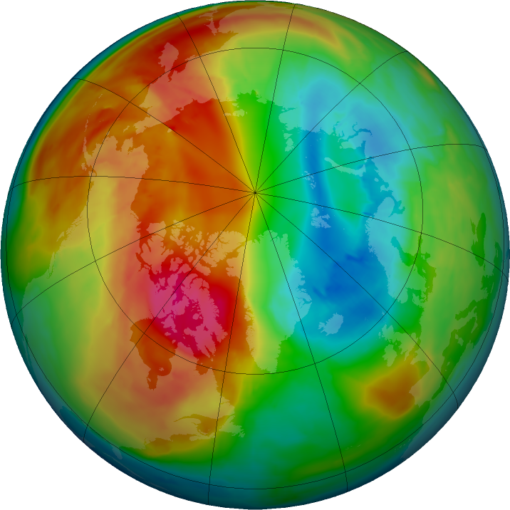 Arctic ozone map for 26 February 2016