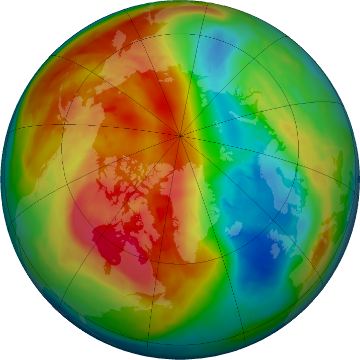 Arctic ozone map for 28 February 2016