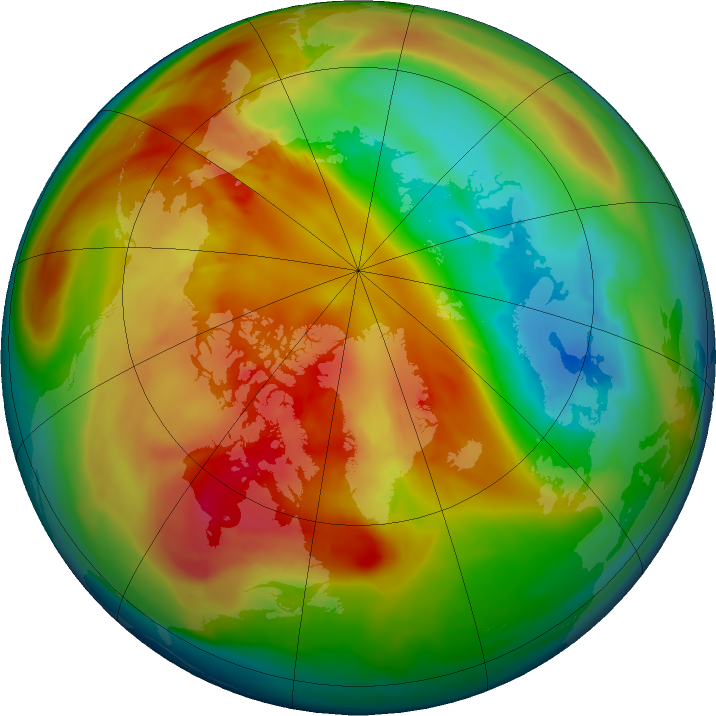 Arctic ozone map for 02 March 2016