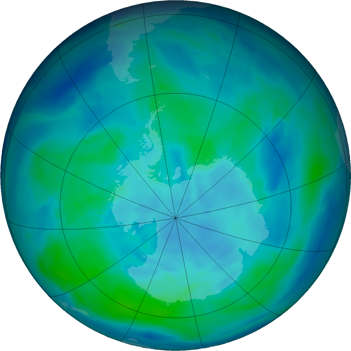 Antarctic ozone map for 08 March 2016