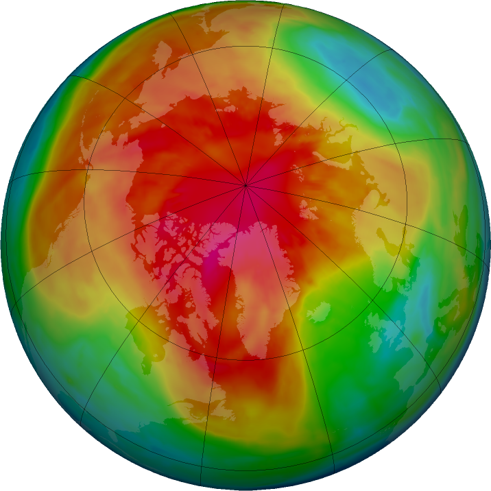 Arctic ozone map for 13 March 2016