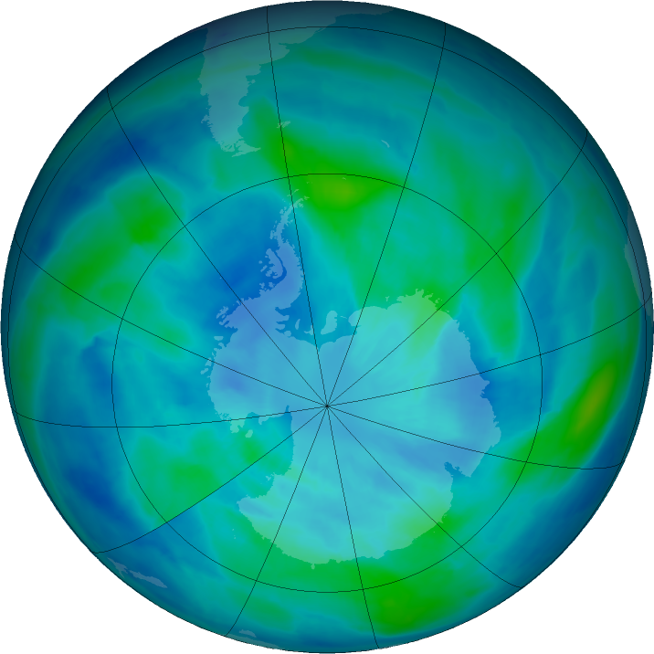 Antarctic ozone map for 21 March 2016