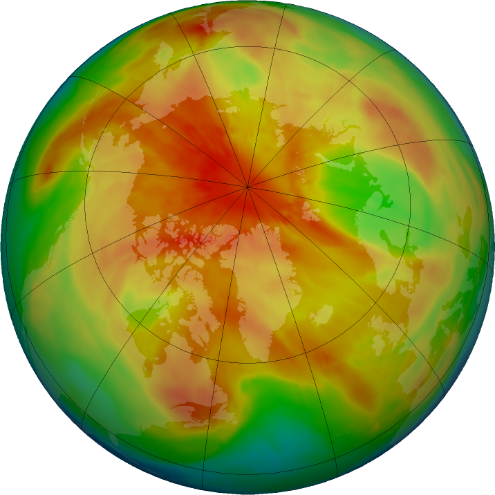 Arctic ozone map for 22 March 2016