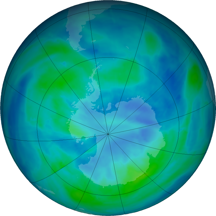 Antarctic ozone map for 26 March 2016