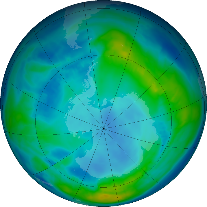 Antarctic ozone map for 02 May 2016