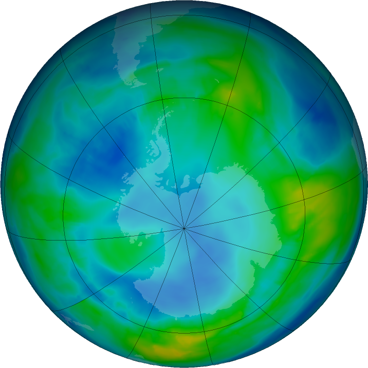 Antarctic ozone map for 03 May 2016