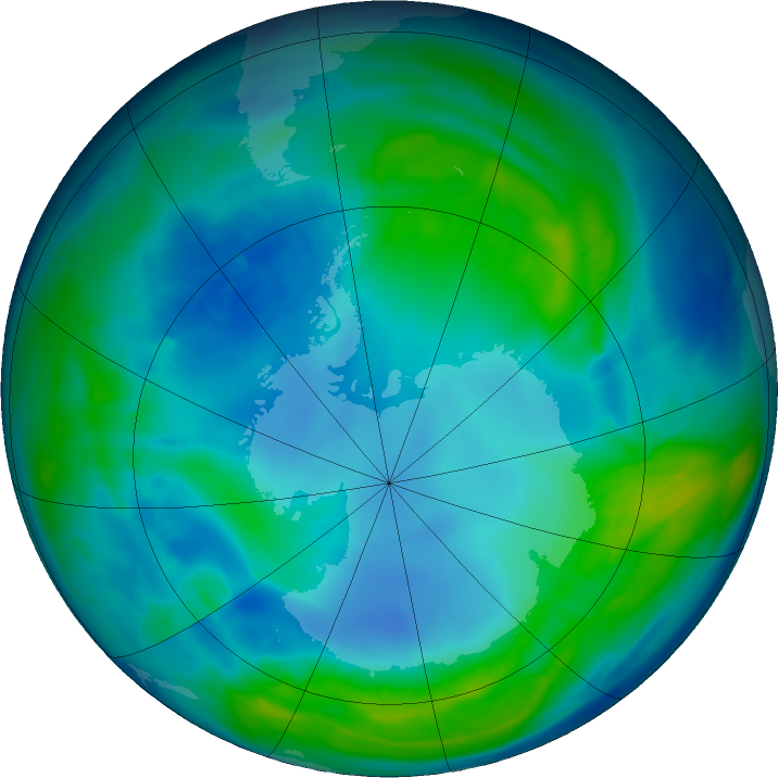 Antarctic ozone map for 04 May 2016