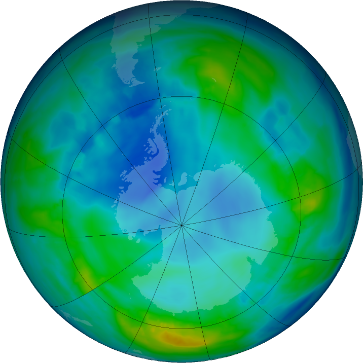 Antarctic ozone map for 06 May 2016