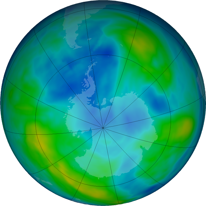 Antarctic ozone map for 07 May 2016