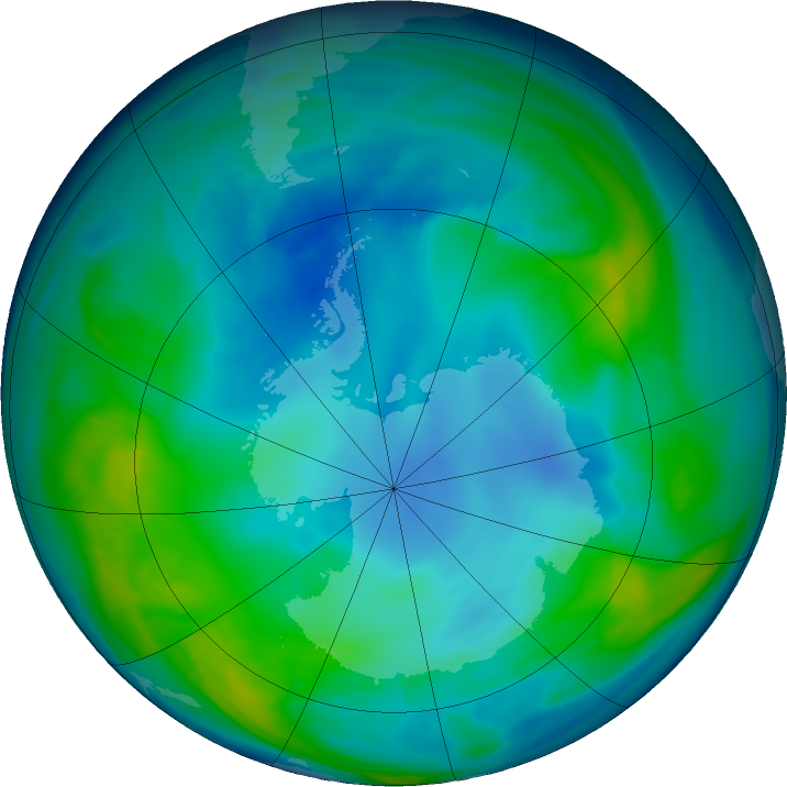 Antarctic ozone map for 08 May 2016
