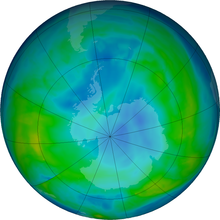 Antarctic ozone map for 09 May 2016
