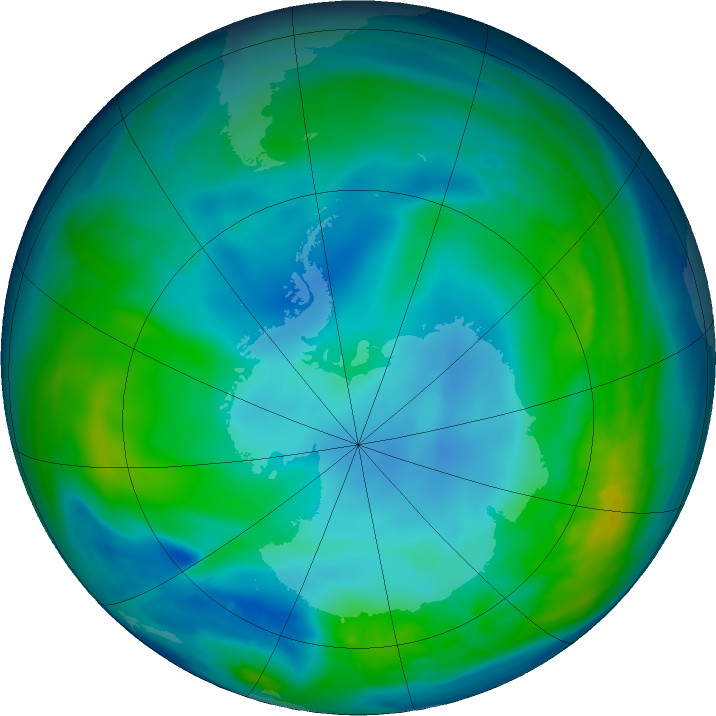 Antarctic ozone map for 10 May 2016