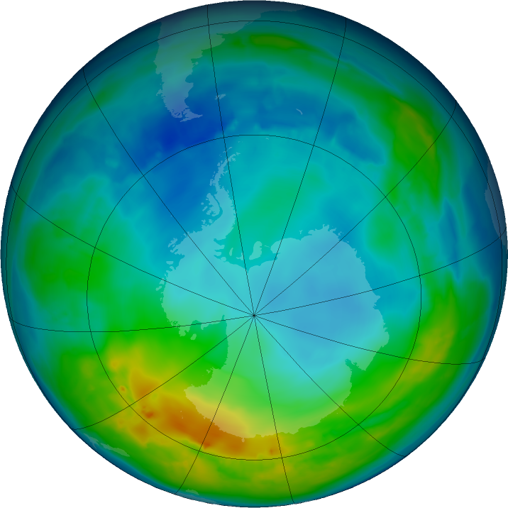 Antarctic ozone map for 17 May 2016