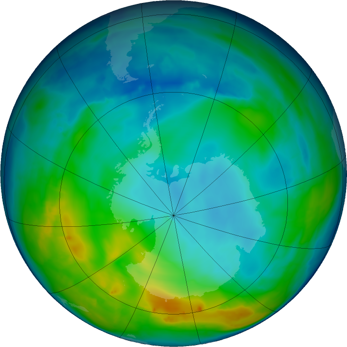 Antarctic ozone map for 20 May 2016