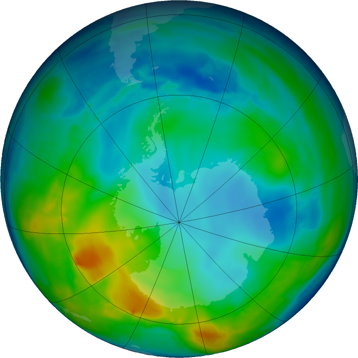 Antarctic ozone map for 21 May 2016