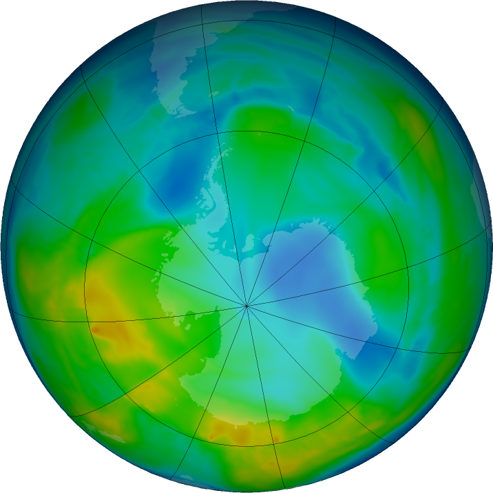 Antarctic ozone map for 22 May 2016