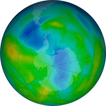 Antarctic ozone map for 2016-05-24