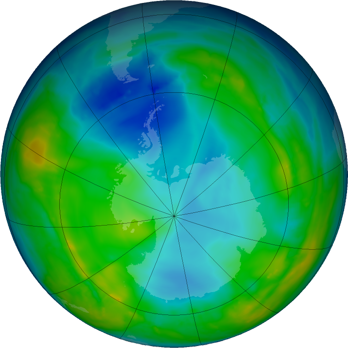 Antarctic ozone map for 25 May 2016
