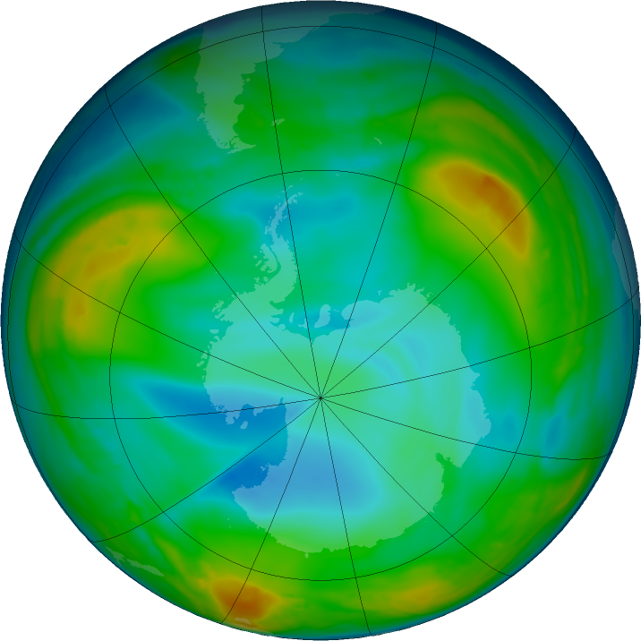 Antarctic ozone map for 24 June 2016