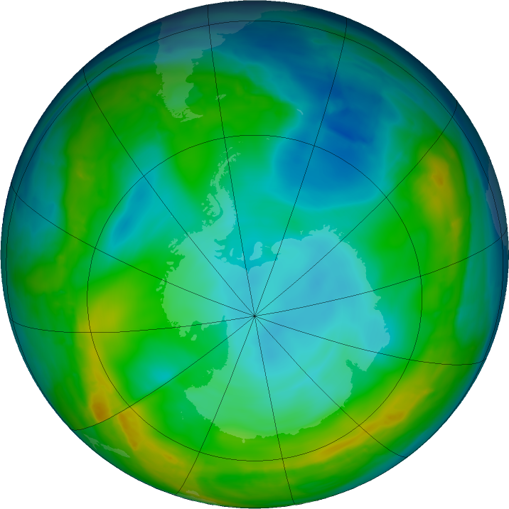 Antarctic ozone map for 30 June 2016