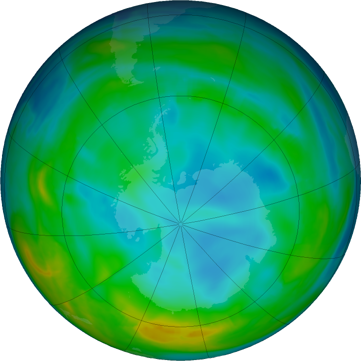 Antarctic ozone map for 02 July 2016