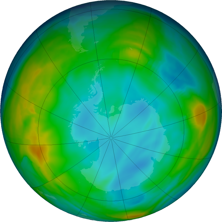 Antarctic ozone map for 08 July 2016