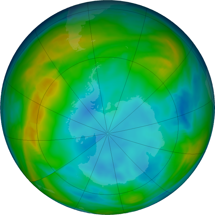 Antarctic ozone map for 10 July 2016