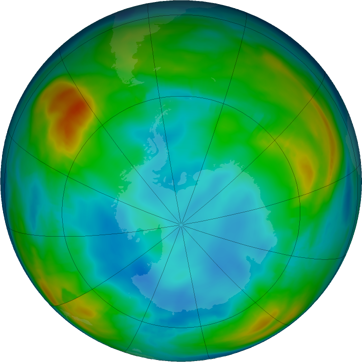 Antarctic ozone map for 15 July 2016