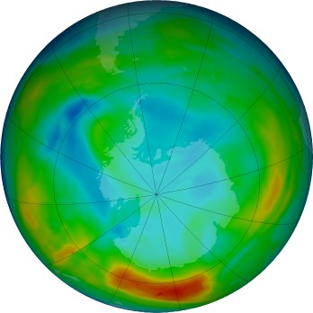 Antarctic ozone map for 2016-07-20