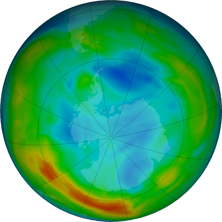 Antarctic ozone map for 21 July 2016