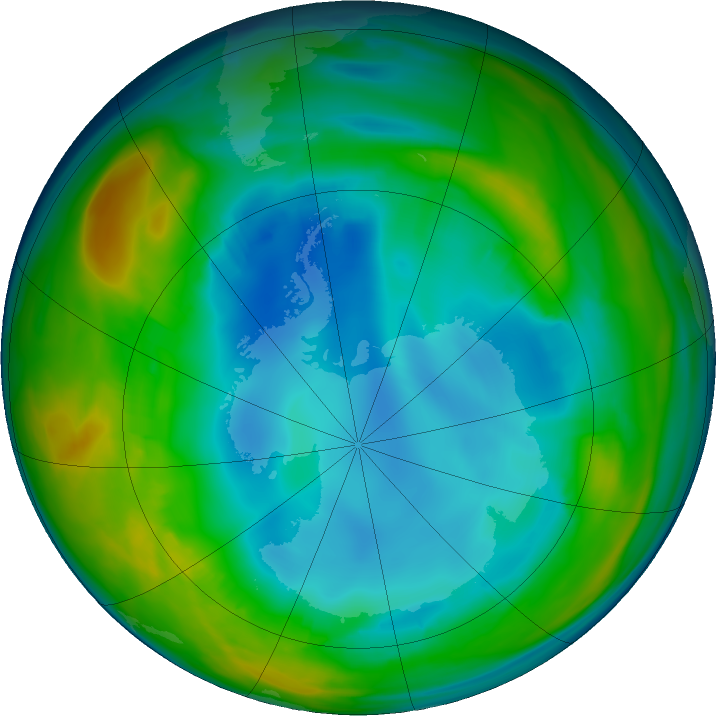 Antarctic ozone map for 26 July 2016