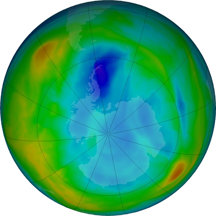 Antarctic ozone map for 27 July 2016
