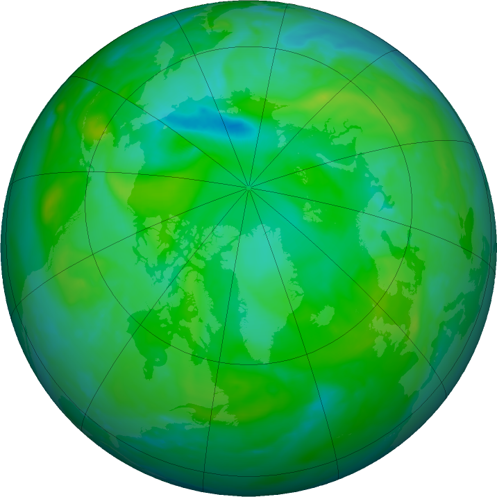 Arctic ozone map for 31 July 2016