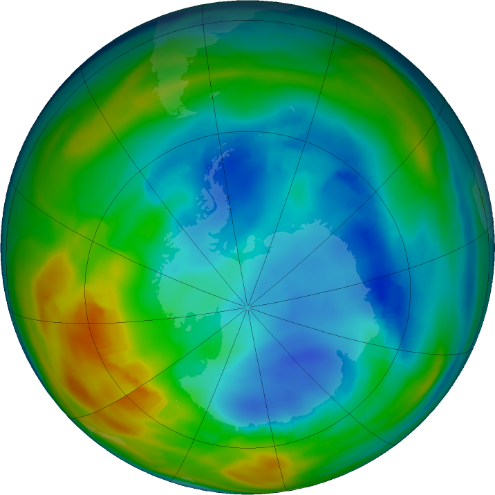 Antarctic ozone map for 31 July 2016